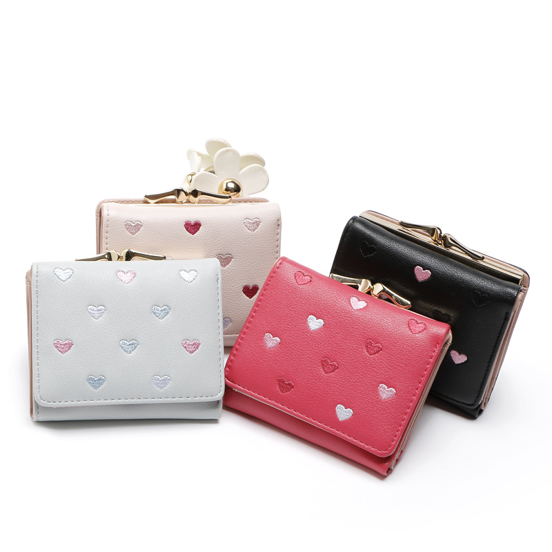 MS short wallet Korean high-grade PU candy fruit color Velcro Wallet Purse love creative flip Wallet(China)