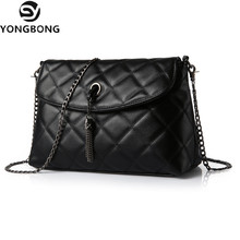 YONGBONG Plaid Small Fringe Embroidery Clutches Women Crossbody Bag Quilted Flap Shoulder Bag Women Messenger Chain Tassel Bag(China)