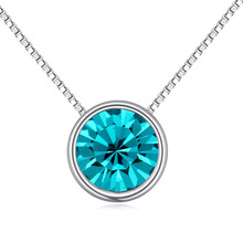 Classic Women Round Pendant Chain Necklace Made with Swarovski Element Fashion Jewelry Bijoux Crystal from Swarovski 8 Colors