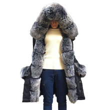 Solid Long Coats Real Rex Rabbit Fur Lining Women Winter Long Down Sleeve Genuine Fox Fur Hood Collar Parkas Woman Warm Jackets(China)