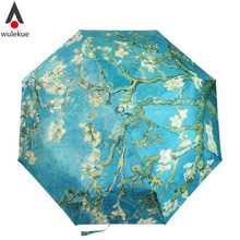 Wulekue Vincent van Gogh Almond Blossom Oil Painting Three Folding Art Umbrella 8 Rib Wind Resistant Frame For Women