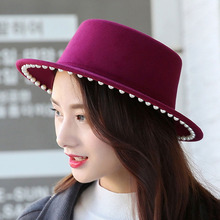 2018 New Spring Autumn Big Brim Pearl Fedora Hat Woolen Jazz Hats Dome Felt Hat Panama Caps Casual Solid Hats Girl's Winter Hat(China)