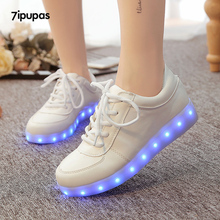 7ipupas Glowing led shoes boy&girl luxe brand casual light up sneakers Calzado Hombre Luminous Chaussure shoes Lumineuse For kid(China)
