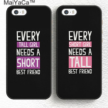 MaiYaCa Set of 2 Every Tall Girl Need A Short Best Friend Soft Rubber Case Cover For iPhone 6 6S Plus 7 7 Plus 5 5S SE phone bag