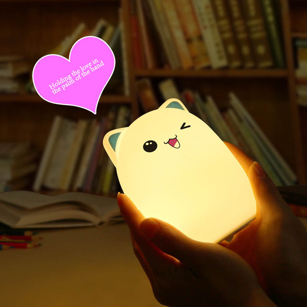 Colorful LED Night Light Lovely Silicone Cartoon Bear Rechargeable Touch Desk Bedroom Decor Tablet Lamp for Kids Girl (11)