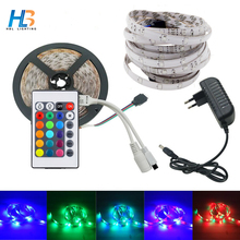 HBL 10M 5M 2835 RGB led strip light 3528 SMD IP65 waterproof +DC12v adapter +24keys remote Flexible LED Strip rgb full set