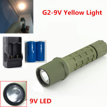 300lm LED Flashlight for G2 Yellow Light Tactical Flashlight Set Xenon Light LED Torch+2*16340 Battery+Charger
