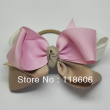 Boutique Ribbon Hairbow with Hair Elastic  Rubber Band PonyTail Holder
