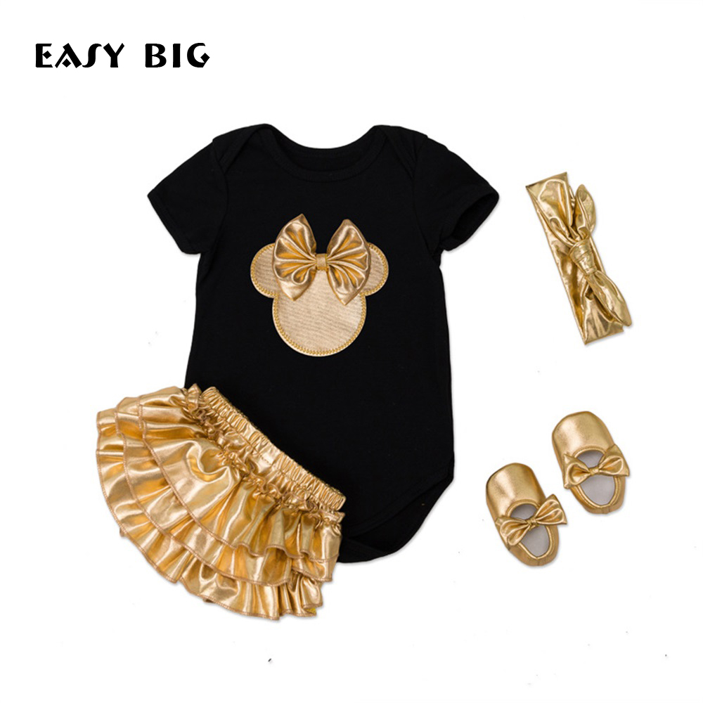 EASY BIG 4Pcs/Set Summer Adorable Newborn Baby Girls Sets Infant Jumpsuits+Socks+Shoes+Hair Band Baby Outfit Sets BC0008<br>