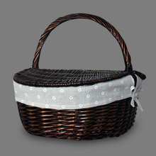 Wicker Shopping Hamper with Lid and Handle Handmade Rattan Storage Steamed Cassette Cover Picnic Basket