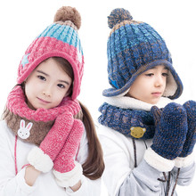 Children hats scarf gloves three - piece warm autumn winter boys girls baby caps collars sets tide kids beanies wear suits(China)