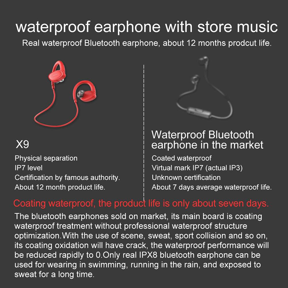 X9 wireless earphones headset Headphones IPX7 Waterproof Swimming Capable In-ear Type Independent Memory 8G Sports music
