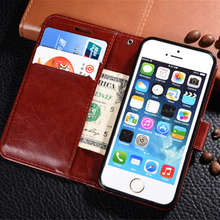 "Protection Leather+Tempered Glass Flip Wallet Case For iPhone 7 7 PLus 6 6S Plus 5 5S SE Black Brown Case On 5S 4.0"" 4.7"" 5.5"""