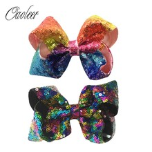 "6 Pieces 5"" Rainbow Sequin Hair Bow Boutique Messy Sequin Bow With Clip Girl Hairpin Christmas Gifts Kids Hair Accessories()"