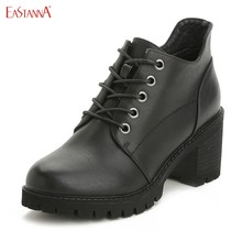 EASTANNA Scrub Genuine Leather High heel Lace High help winter Keep warm Shoes shop boots cm rubber Women's Super High cowboy(China)