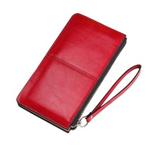 2016 New Designer Fashion Hot Oil Wax Cowhide Women Wallet Leather Women's Korean Zipper Purse Large Capacity Day Clutch(China)