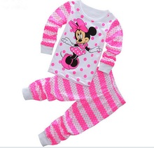 Retail Drop shipping 2017 new 100% cotton Hello kitty baby pajamas of the children Minnie pyjamas kids baby clothing 2 pcs set