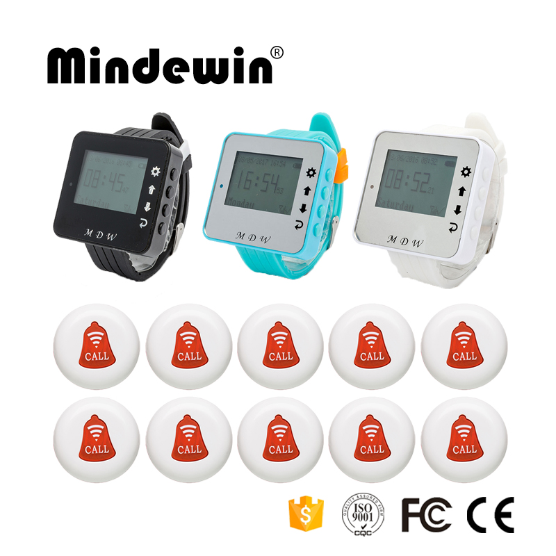 Mindewin Wireless Calling System 10PCS Call Buttons and 1PCS Wrist Watch Pager Restaurant Waiter Service Call Bell System(China (Mainland))