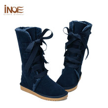 INOE Ladies Snow Boots Leather Booties Dark Blue Boots Women High Knee Womens Winter Boots Flat Lace-up Shoes Woman Boots