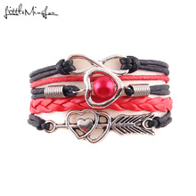 Buy Little MingLou Imitation pearl bracelet infinity heart bow charm leather braid wrap men bracelets & bangles women jewelry for $1.13 in AliExpress store