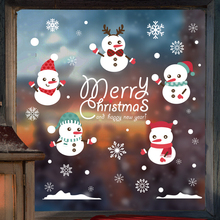 2017 new The New Year holiday decorations Santa door window stickers posted store window stickers glass wall stickers(China)