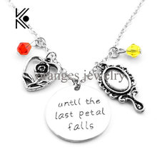Cute Beauty and the beast until the last petal falls magic mirror Alarm Manager pendent crystal beads alloy movie necklace