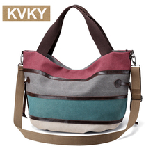 KVKY 2017 handbag women big canvas bag designer striped handbags high quality tassel canvas casual tote bags shoulder bag