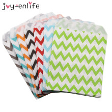 JOY-ENLIFE 25pcs Food Grease Proof Paper Bag Wavy Stripes Snack Kids Candy Buffet Favor Gift Wedding Birthday Party Supplies(China)