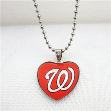 10pcs/lot MLB Team Washington Nationals Necklaces with 45cm Beads Chains Baseball Sports Necklace Jewelry Pendant Charms(China)