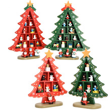 New Design 2 Colors Square Check Party Table Decoration Wooden Christmas Tree with Ornament New Year Present Kids Gift(China)