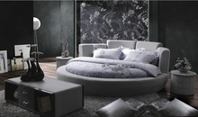 contemporary modern velvet fabric round bed grey bedroom furniture Made in China