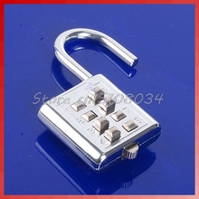 4 Digit Push Button Combination Number Luggage Travel Code Lock Padlock Silver #S018Y# High Quality