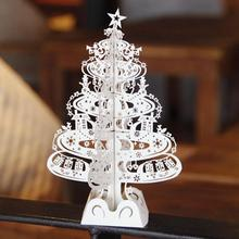 10pcs Christmas Tree Gifts 3D Laser Cut Pop Up Cards Decoration Greeting Card display Merry Christmas Party Supplies 5022(China)