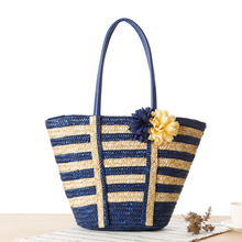 Navy Style Women Handbag Striped Flowers Straw Tote Bag Woven Shoulder Bag Fashion Large Capacity Beach Bag