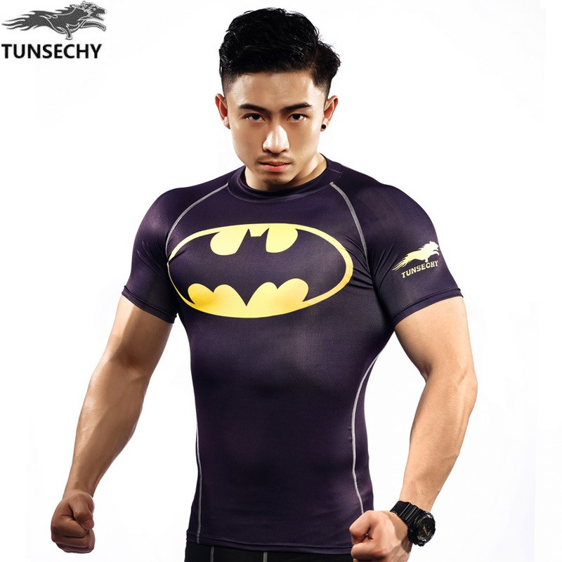 NEW Mens Compression Shirts Bodybuilding Skin Tight Short Sleeve Jerseys TUNSECHY brand Crossfit Outdoor sports bike t Shirt 283