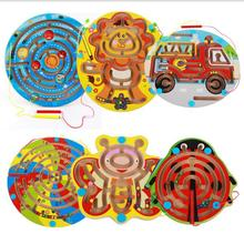 Kids Wooden Magnetic Animal Space Maze Game Magnetic Pen Labyrinth Board Intelligence Games Children Learning Education Toys(China)