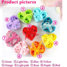 GUJHUI 1pcs Scented Bath Body Flower Soap Rose Petal in Heart Box Wedding Favor XhP8Xs(China)