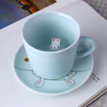 Creative Personality 3D Stereo Animals Coffee Mug Rabbit Kitten Puppy Ceramic mugs office home Leisure tea mugs