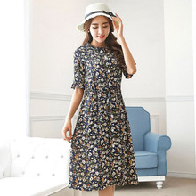 Factory direct 2017 large size fat mm summer new large size women's five-point sleeve cardigan chiffon dress 5303(China)