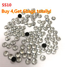 Buy 4Bags Get 2bags more ,Transfer Stone 1440pcs SS10 Crystal Clear DMC Hotfix Rhinestones With Round Flatback For Clothes Bags(China)