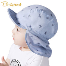 New Print Sun Hat Baby Summer Caps for Children with Soft Brim Blue/White Detachable for 6-18 Months 2 pcs/Set(China)
