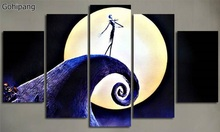 5 Plane Wall Art Calligraphy Painting Movie Posters Nightmare Before Christmas Canvas Pictures Prints For Living Room Home Decor