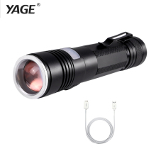 YAGE YG-337C T6 2000LM Aluminum Zoomable 5-Modes CREE LED USB Clip Flashlight Torch Light for 18650 Rechargeable Battery