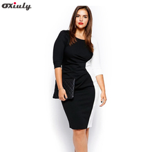 Oxiuly Plus size 4SL 5XL Women Thin Long Sleeve Stretchy Sheath Classic Black White Patchwork Vintage Slimming Pencil Dress