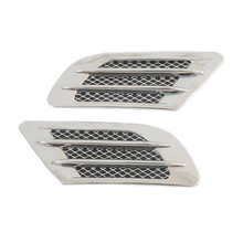 2pcs ABS Chrome Car Stying Side Air Vent Fender Cover Hole Intake Duct Flow Grille Decoration Sticker for Bmw Audi VW Ford(China)