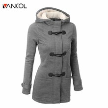Vancol 2016 Autumn Winter European Thick Large Horn Button Hooded Woolen Slim Women's Coat Thick Lambs Wool Hooded Women Coat