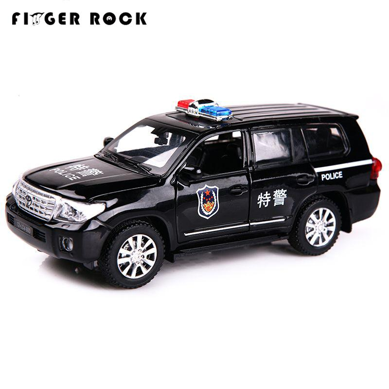 1:32 Land Cruiser Police Model Car Diecast Metal Pull Back Auto Toy 2 Color Simulation Alloy Car Birthday Gift for Children(China (Mainland))