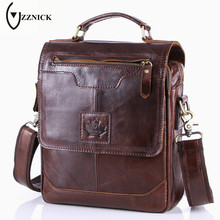 ZZNICK 2017 New Men's Business Bag Brand Genuine Leather Male Fashion Shoulder Bags Luxury Cow Leather Handbag Men Crossbody Bag(China)