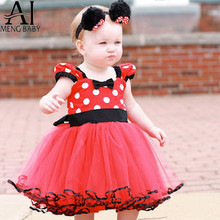 Ai Meng Baby Red Tutu Minnie Mouse Girl Kids Party Dresses for Girls Baby First Birthday Outfits Fancy Children's Minnie Costume