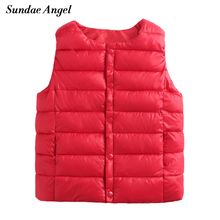 Sundae Angel Kids vests Sleeveless O-Neck Winter&Autumn Baby Girls Boy Coat Jacket Solid Clothes Outerwear Children's Waistcoats(China)